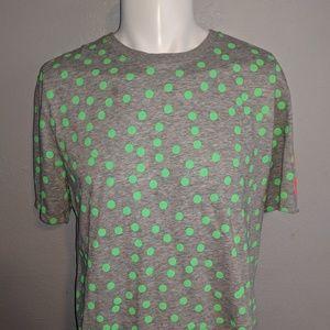 Nike Grey & Green Polka Dot T-Shirt Size LRG